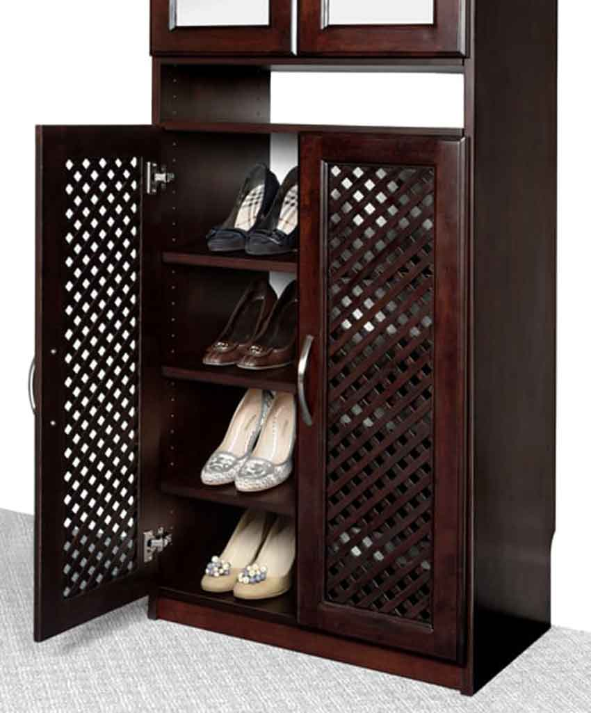 Shoe Rack with Lattice Doors