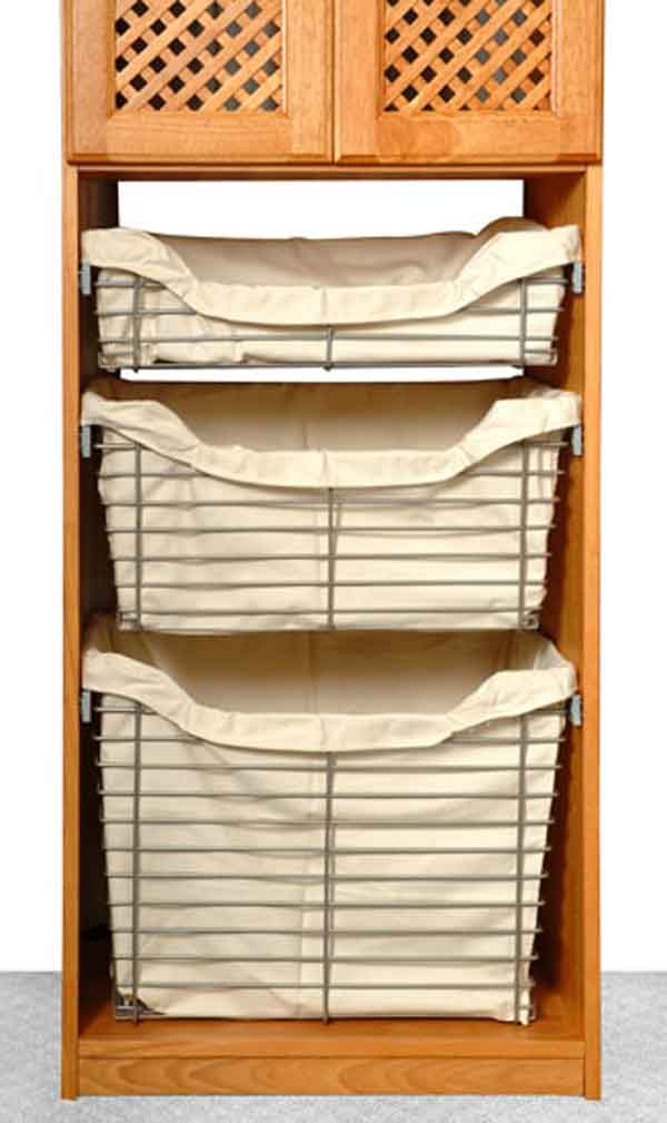 Maple Spice Closet Organizer with Baskets