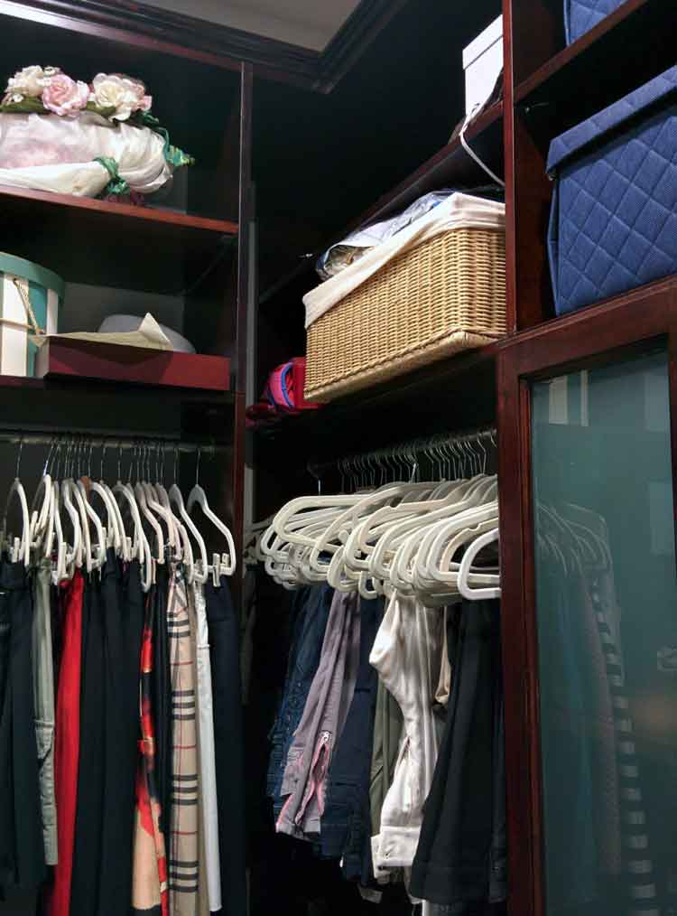 Closet Corner with Hanging and Shelving